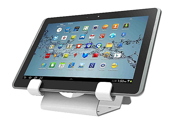 Compulocks Universal Tablet Holder - Keyed Coiled Cable Lock - White - stan