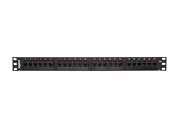 Legrand 24-Port Cat6 110-Type Patch Panel - High Density 1RU 19in. Panel -