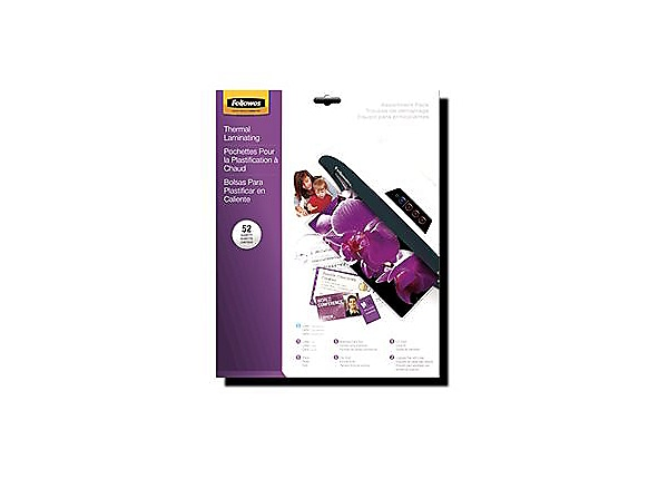 Fellowes Starter Kit - 52-pack - clear glossy - glossy laminating pouches