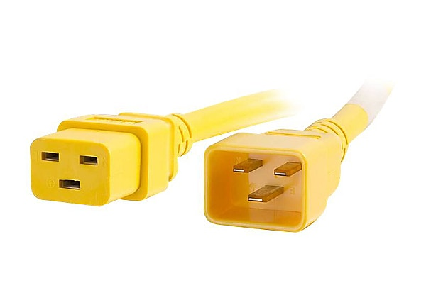 C2G 2ft 12AWG Power Cord (IEC320C20 to IEC320C19) - Yellow - power cable -