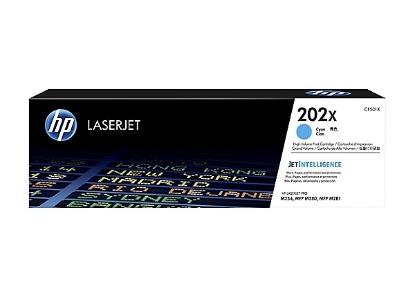 HP 202X - High Yield - cyan - original - LaserJet - toner cartridge (CF501X