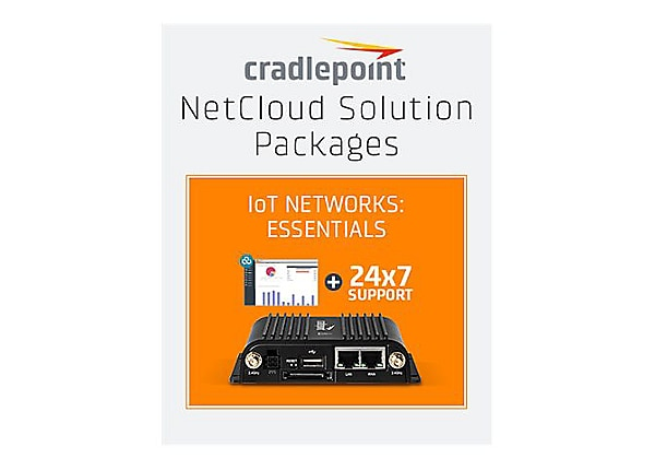 Cradlepoint NetCloud Essentials for IoT Routers (Standard) - subscription license (1 year) + Support - 1 license - with IBR600C router with WiFi (LPE modem) for AT&T
