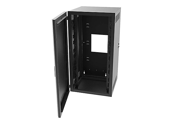 Legrand 12RU Swing-Out Wall-Mount Cabinet with Solid Door - Black - TAA sys
