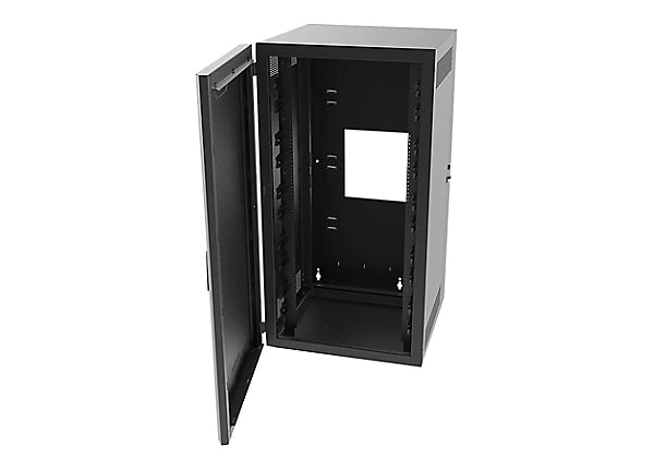 Legrand 18RU Swing-Out Wall-Mount Cabinet with Solid Door-Black-TAA cabinet