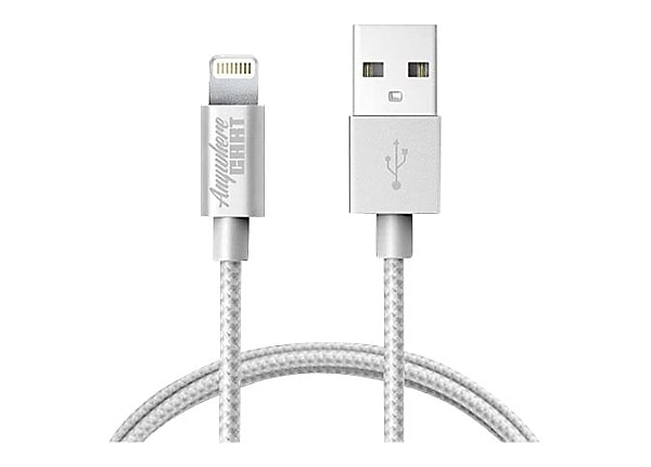 Anywhere Cart AC-6-MFI Mfi 6ft lightning to USB cable, silver woven