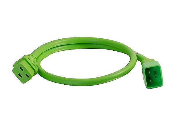 C2G 4ft 12AWG Power Cord (IEC320C20 to IEC320C19) - Green - power cable - 4
