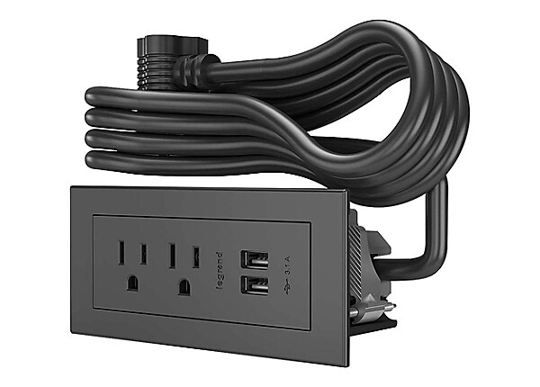 Wiremold Radiant Furniture Power Center (2) Outlet (2) USB, Black - wall mo