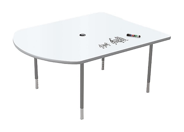 Balt MediaSpace Height Adjustable Table With Platinum Legs   Small