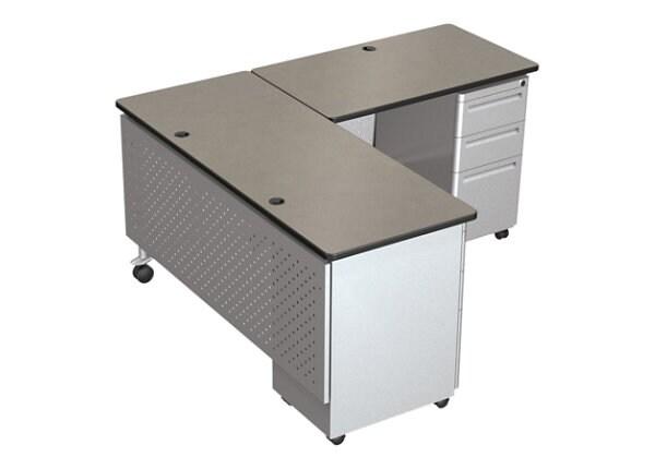 Balt Modular Teacher's Single Pedestal Return Desk - Castle Oak/Black