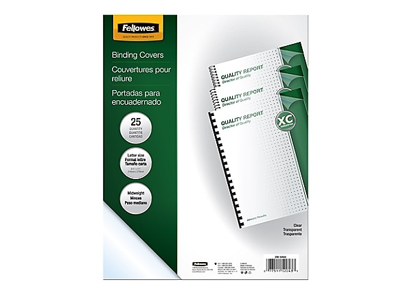 Fellowes - 200-pack - clear - PVC binding cover