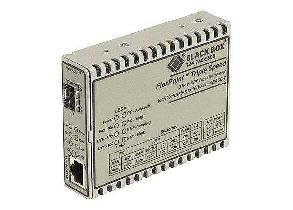 Black Box FlexPoint - fiber media converter - 10Mb LAN, 100Mb LAN, GigE - T