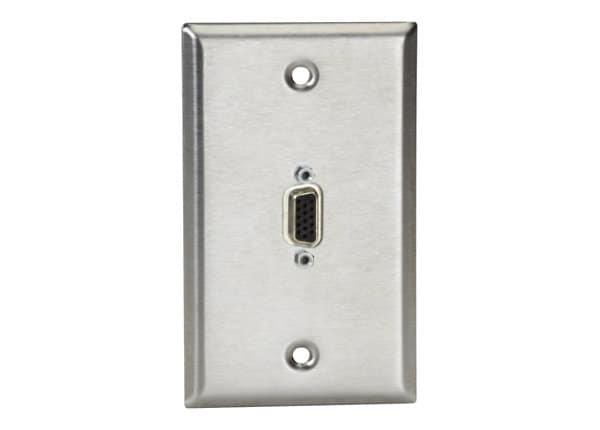 Black Box A/V Stainless Wallplate Single-Gang VGA HD15 F/M Gender Changer -