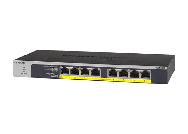 NETGEAR 8-Port PoE/PoE+ Gigabit Ethernet Unmanaged Switch 60W PoE (GS108LP)