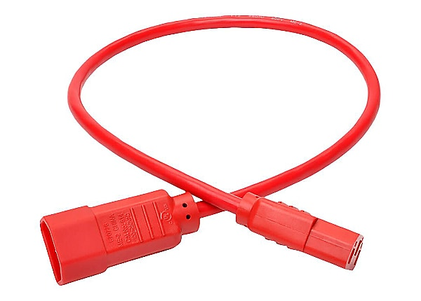 Tripp Lite 2ft Computer Power Extension Cord 10A 18 AWG C14 to C13 Red 2' -