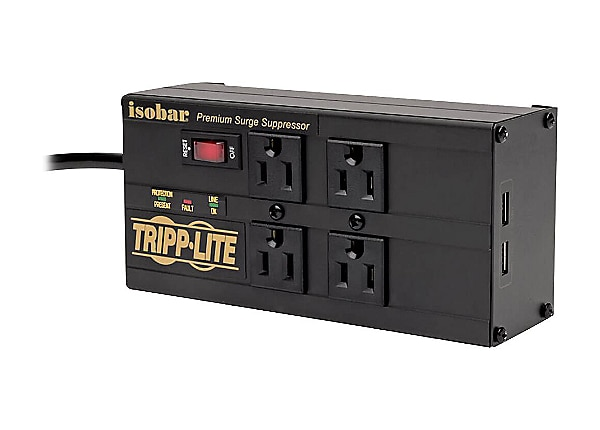 Tripp Lite Isobar Surge Protector 4 Outlet 2 USB Charging Ports 8ft Cord