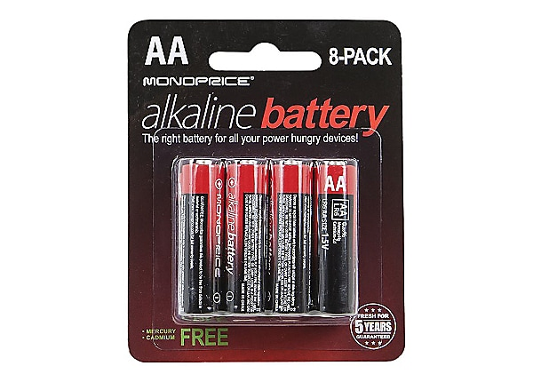 Monoprice batterie - 8 x type AA - Alcaline