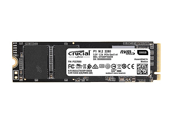 Crucial P1 - Disque SSD - 500 Go - PCI Express 3.0 x4 (NVMe)