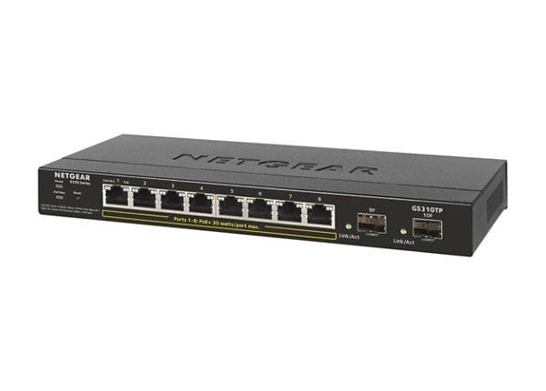NETGEAR S350 8-port Gigabit PoE+ Smart Managed Pro Switch, 2 SFP (GS310TP)
