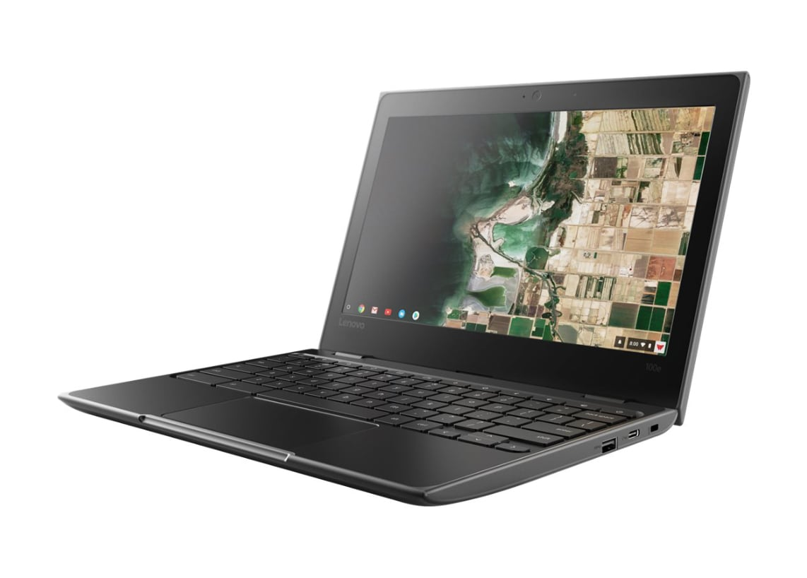 "Closeup of Lenovo 100e Chromebook MTK8173C 11.6"" 4GB RAM 32GB Chrome OS"