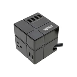 Tripp Lite Surge Protector Power Cube 3-Outlet 6 USB-A 7.2A 6ft Cord Black