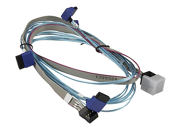 Supermicro 0.7m MiniSAS HD to 4 Right Angle SATA Cable with Sideband, White
