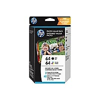 HP 64 Photo Value Pack - 2-pack - black, color (cyan, magenta, yellow) - or