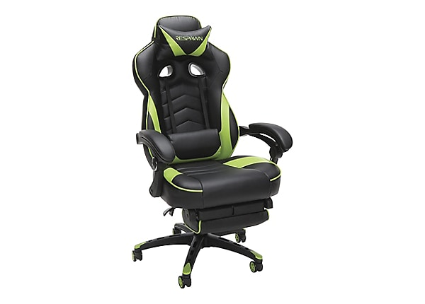 RESPAWN RSP-110 Racing Style Reclining Footrest Gaming Chair - Green