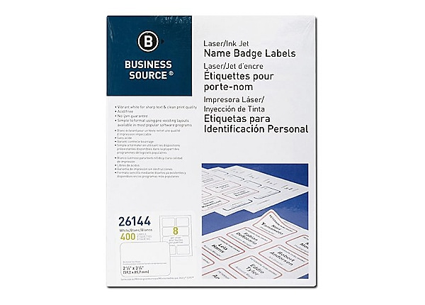 Business Source - name badge labels - 400 label(s) - 2.335 in x 3.375 in