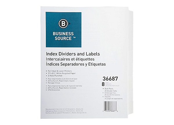 Business Source Punched Laser Index Dividers - White - 8 Blank Tabs