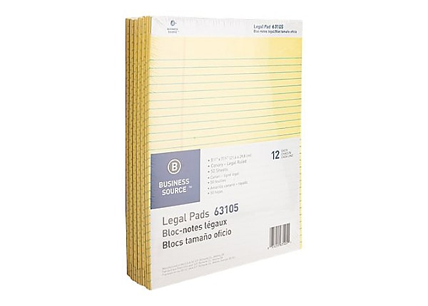 Business Source - legal pad - 8.5 in x 11.73 in - 50 sheets (pack of 12)