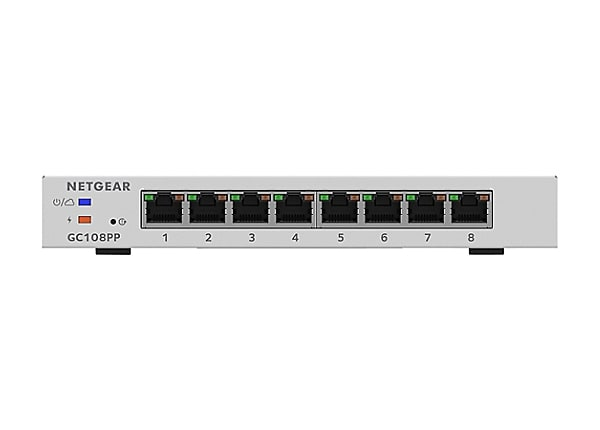 NETGEAR 8-Port Smart Managed Pro Switch, Remote Mgmt, 126W/PoE+ (GC108PP)