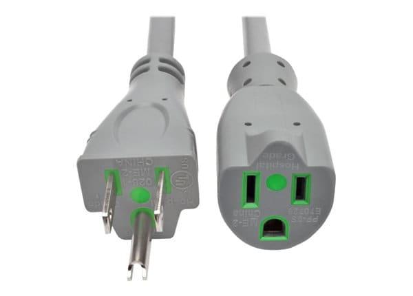 Tripp Lite Hospital Medical Power Extension Cord 5-15P 5-15R 13A Gray 15'