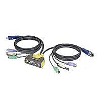 IOGEAR MiniView Micro 2 Port PS/2 KVM Switch with Audio and Built-in Cables