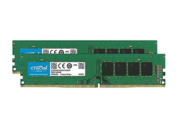 Crucial - DDR4 - kit - 16 GB: 2 x 8 GB - DIMM 288-pin - unbuffered