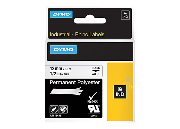 "DYMO RhinoPRO 1/2"" Industrial Strength Permanent Polyester"