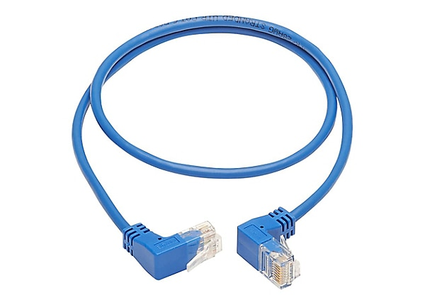 Tripp Lite Cat6 Ethernet Cable Up/Down Angled UTP Slim Molded M/M Blue 3ft