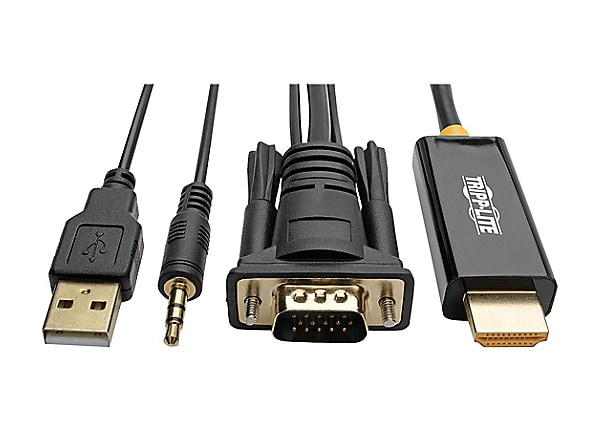 Tripp Lite VGA to HDMI Adapter Converter Cable w Audio n USB Power 1080p 6'