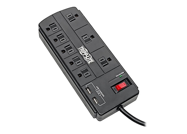 Tripp Lite Surge Protector Strip 8-Outlet 2 USB Charging Ports 8ft Cord
