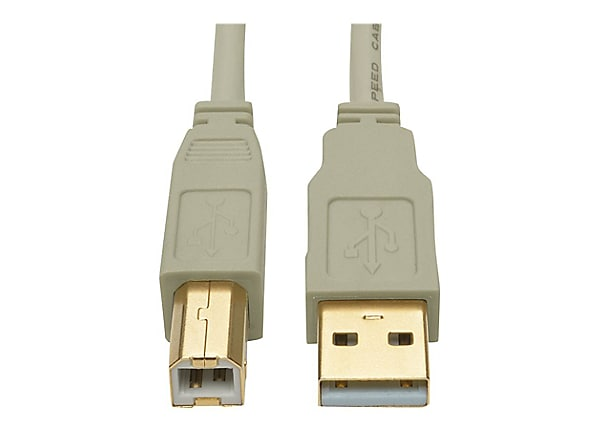 Tripp Lite 10ft USB 2.0 Hi-Speed A/B Cable M/M 28/24 AWG 480 Mbps Beige 10'