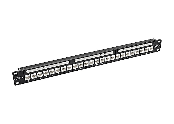 Tripp Lite 24-Port Cat6a Feedthrough Patch Panel w/Down-Angled Ports 1U TAA