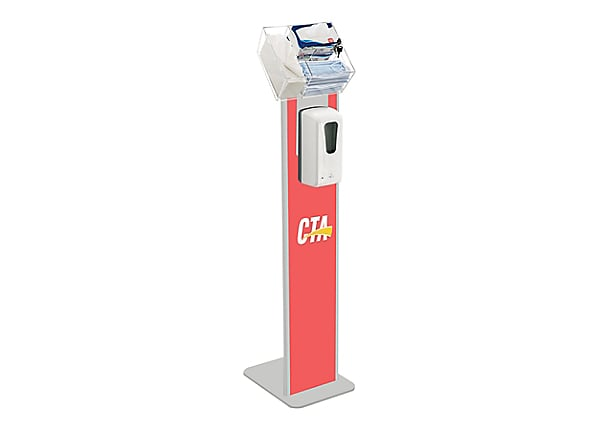 CTA Premium Locking Sanitizing Station Stand with Graphic Card Slot - hand