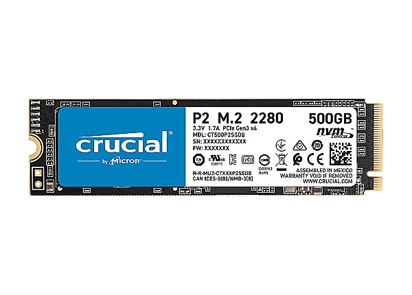 Crucial P2 - solid state drive - 500 GB - PCI Express 3.0 x4 (NVMe)