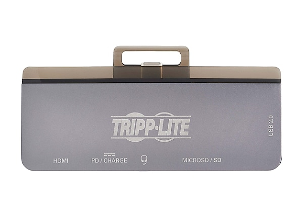 Tripp Lite USB C Docking Station HDMI USB-A SD/Micro SD PD Charging Gray -