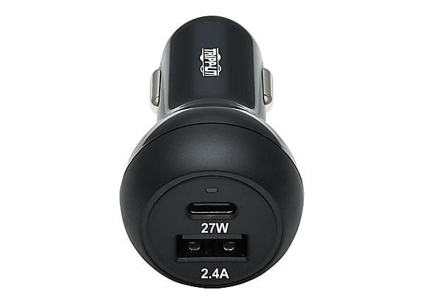 Tripp Lite USB Car Charger Dual-Port 39W Charging USB-C 27W, USB-A 12W