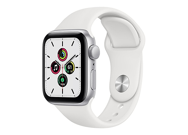 Apple Watch SE (GPS) - silver aluminum - smart watch with sport band - whit