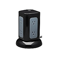 Tripp Lite Surge Protector Tower 6Outlet 3x USBA 1x USB C 8ft Cord Black