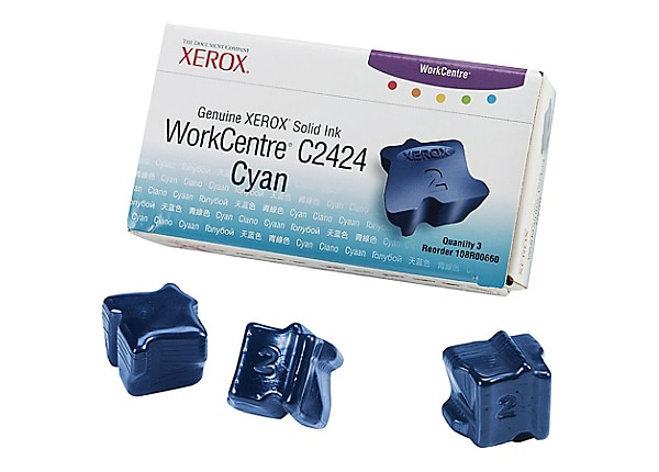 Xerox Workcentre C2424 Solid Ink Cyan (x3) - 108R00660
