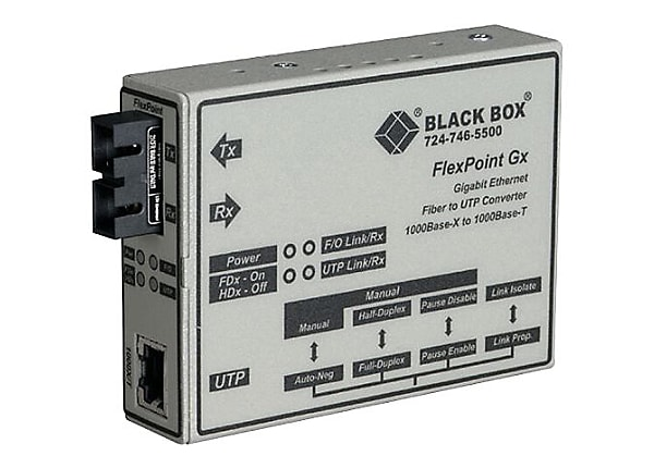 Black Box 1000BASE-T to 1000BASE-SX Gigabit UTP to Fiber Media Converter