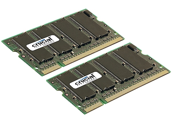 Crucial - DDR2 - 2 GB: 2 x 1 GB - SO-DIMM 200-pin - unbuffered