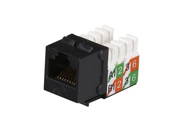 Black Box GigaBase2 CAT5e Black RJ45 110 Keystone Jack ETL Verified 25-Pack
